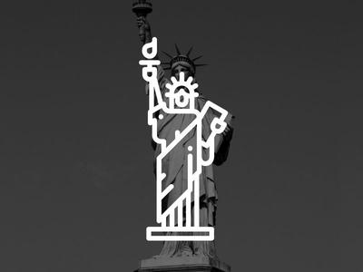 New York !! Statue Of Liberty !! freedom america statue of liberty new york creative landmark building black vector illustration line