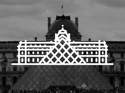 France !!  Louvre Museum  !! icon museum louvre paris france creative landmark building black vector illustration line