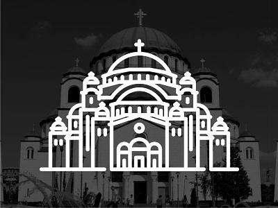 Serbia !!  Saint Sava Temple !! belgrade saint sava serbia creative landmark building black icon vector illustration line