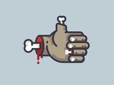 OKk zombie monster horror illustration think ok human glove finger hand icon logo