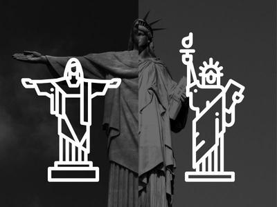 Icon riodejaneiro statue of liberty new york line landmark illustration freedom creative building brasil america