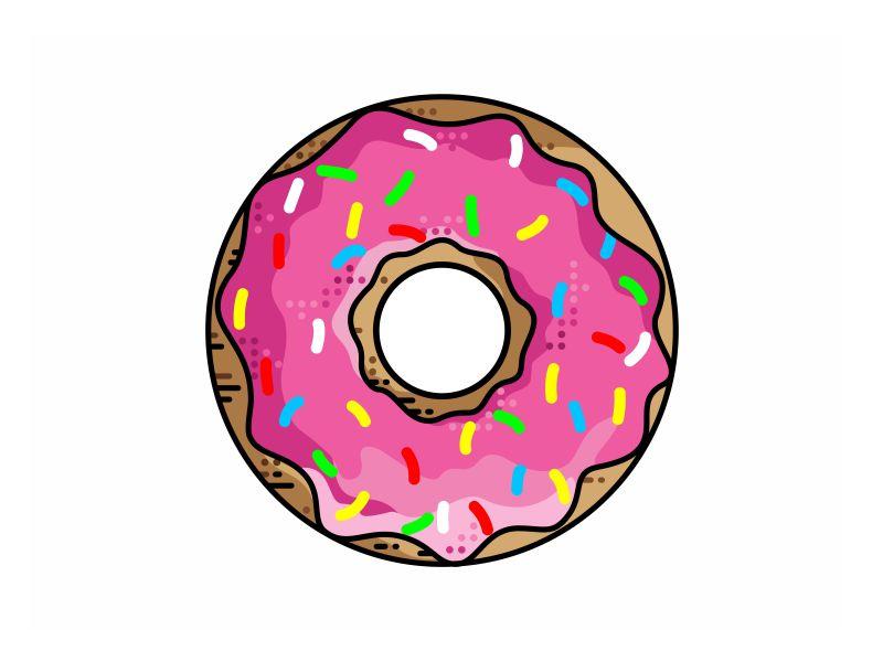 Donut police minimal vector sprinkles cream colorful sweet logo icon pink donut caramel
