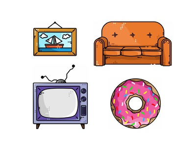 Simpsons Icons icon bed couch picture tv vector simpsons homer design characters cartoon bart
