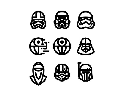 Star Wars icons No.1 free stormtrooper star wars r2d2 outline kylo icons droid death star darth vader boba fett c3po bb8