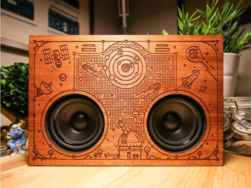 Wooden bluetooth speaker!! planet comet product line dots ship astronaut space music speaker bamboo wood