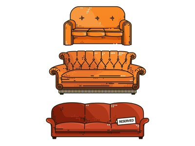 Furniture..:)  sheldon favorite friends tvshow series illustration simpsons couch characters big bang theory bed bbt