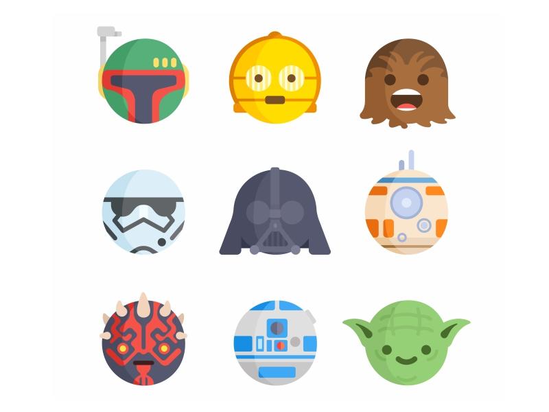 Emoji No.7 wars stormtrooper star space sith character joda jedi face emoji darth vader boba fett