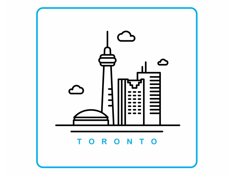 Toronto toronto illustration landmark icon building mark logo lettering illustration dribbble city badge