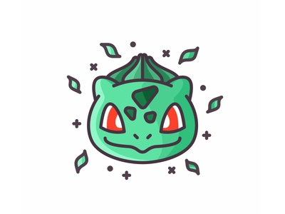 Bulbasaur cute design line pokemon go pokemon outline leafs illustration iconography icon grass bulbasaur