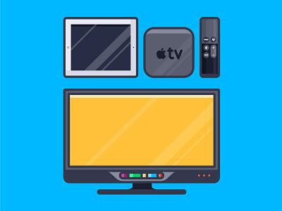 Apple setup design illustration tv set ipad television screen ios icon display camera iphone