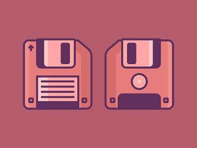 Floppy disk computer technology outline drive design iconaday icon illustration floppydisk floppy flat disk