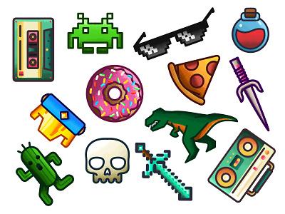 Color Items alien tape tmnt minecraft texture zelda skull pizza music glasses donut dinosaur