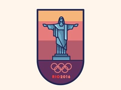 Rio 2016 Badge win shoot rio de janerio olympics medal landmark city brazil mark logo lettering badge