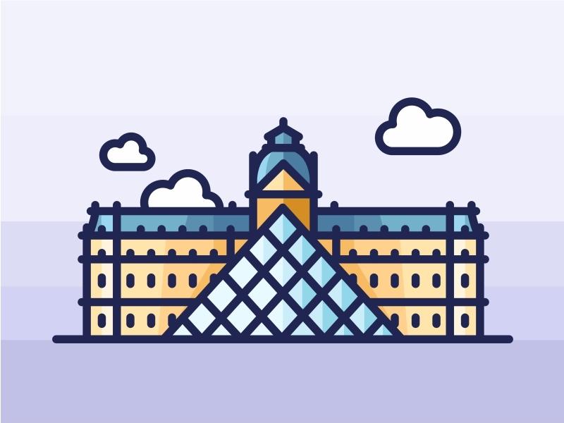 Paris Louvre Museum design illustration city skyline landmark symbol mark logo icons paris louvre museum france architecture
