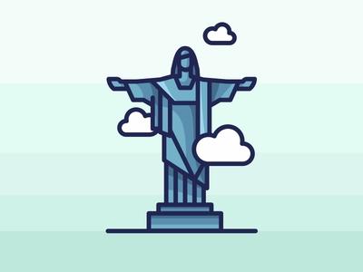 Rio De Janeiro Cristo Redentor win shoot rio de janerio olympics medal mark logo lettering landmark city brazil badge