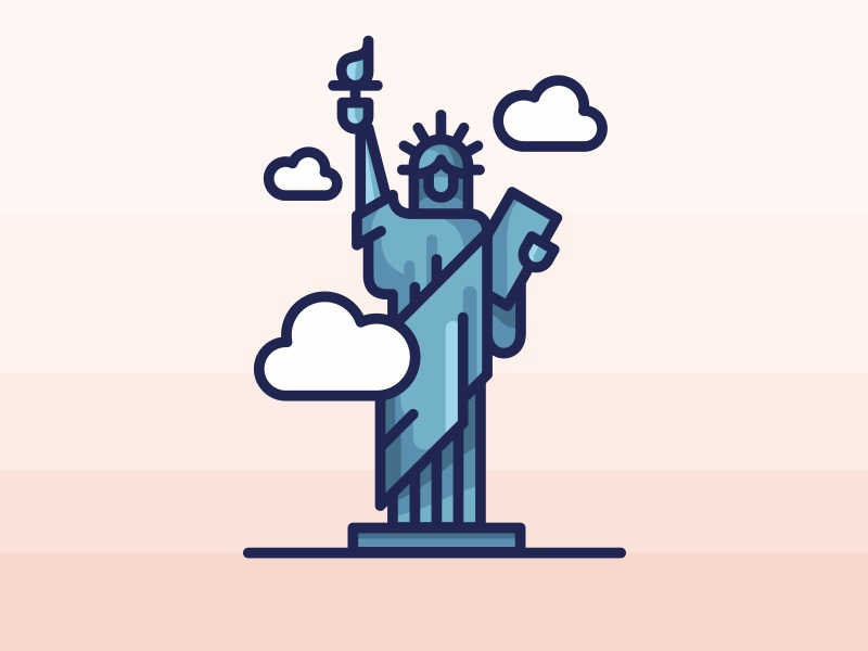 New York City Statue Of Liberty america vector taxi statue of liberty new york illustration buildings mark logo lettering landmark city