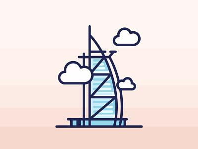 Dubai Burj Al Arab minimal summer burj al arab vector dubai landmark illustration east clouds city building luxury