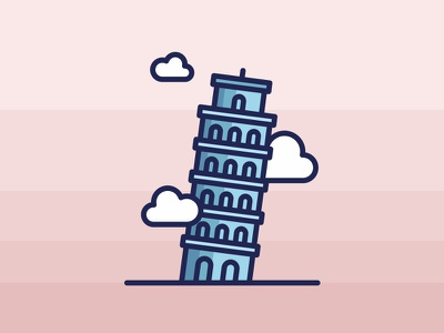 Italy Leaning Tower Of Pisa minimal summer leaning tower of pisa italy vector landmark illustration pizza clouds city building food