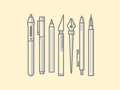Design tools stationery pattern liner vector tool pencil pen marker illustration icons brush art