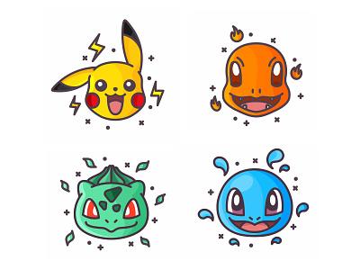 Pokemons wather throw pokemon go pokemon pokeball pikachu outline lightning illustration icon bulbasaur fast