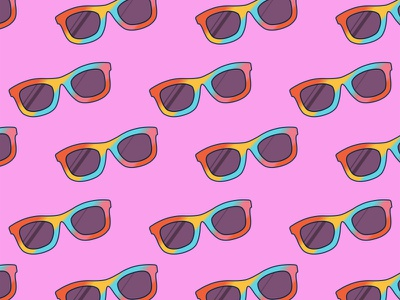Glasses Pattern summer glasses icon ray-ban pattern poster sweet illustration app icon sunglasses doodle design