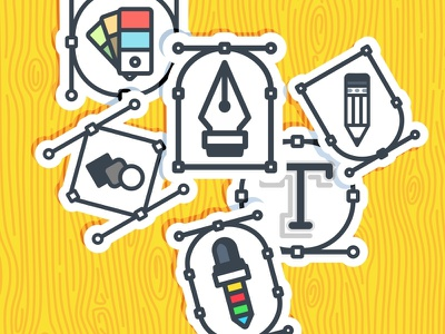 Adobe tools badge adobe eyedropper graphic icon typography pen stroke tool sticker color pallet letter