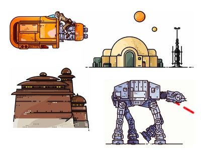 Star Wars set Illustrations bb8 boba fett c3po darth vader death star droid icons kylo outline r2d2 star wars stormtrooper