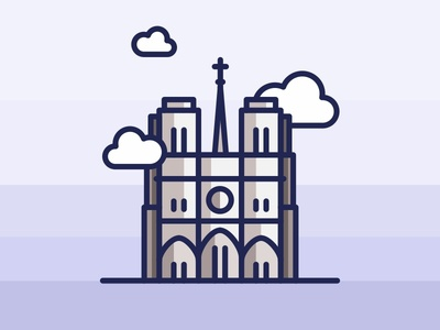 Paris Notre Dame church building icon architecture landmark paris notre dame louvre illustration europe eiffel city