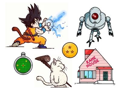 Dragonball Illustrations graphic radar house manga character design anime power icon goku dragonball dragon ball