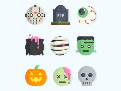 Halloween Emoji No.2 pumpkin frankenstein skull grave costume fun icons set scary emoji mummy zombie halloween