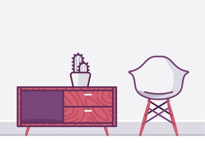 Living room furniture deco living table icons flat design cactus wood desk office vintage chair furniture
