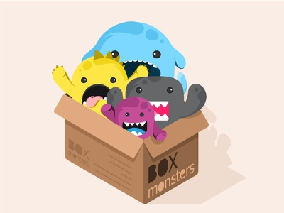 Box monsters fun smile dentity flat sticker box monsters illustrations cute colors characters animals