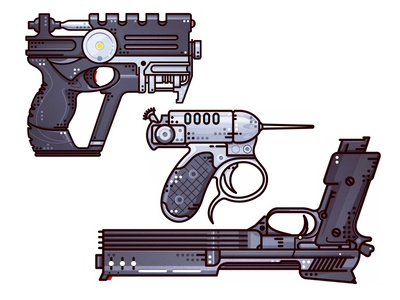 Guns ui ux the fifth element man in black robocop icon pistol metal weapon rifle illustration gun boom