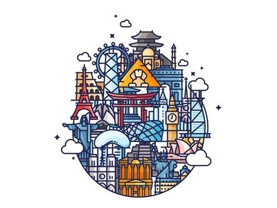 Landmarks architecture badge travel world wonder set peace love landmark tourism icons iconography