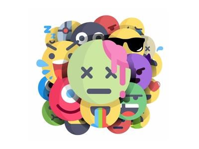 Emoji squad costume happy face fun icons set avatar scary emoji zombie halloween
