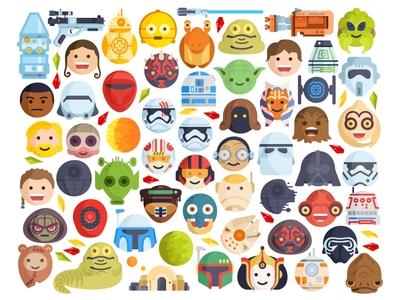 StarWars emoji star wars blaster space icons set bb8 speeder painted rogue one emoji stormtrooper graphic face