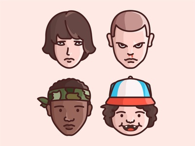 Stranger Things characters mike eleven illustration stranger things elle netflix tvshow 80s lucas dustin