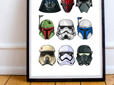StarWars Illustration Print rogue one star wars boba fett stormtrooper helmet design darth vader space jedi deathtrooper imperial