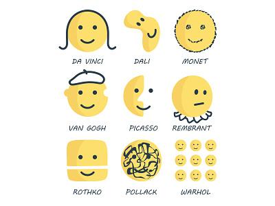 Artist emoji art set icons pollack warhol rembrant picasso vangogh monet dali davinci emoji