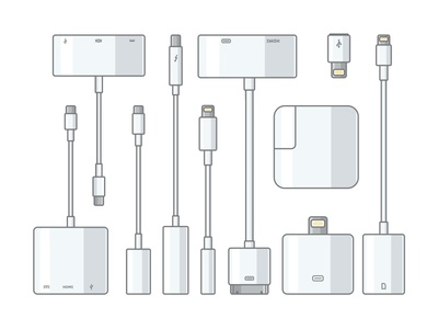 Apple connectors wireless connectors headphones cable mobile iphone icon vector technology metal smart apple