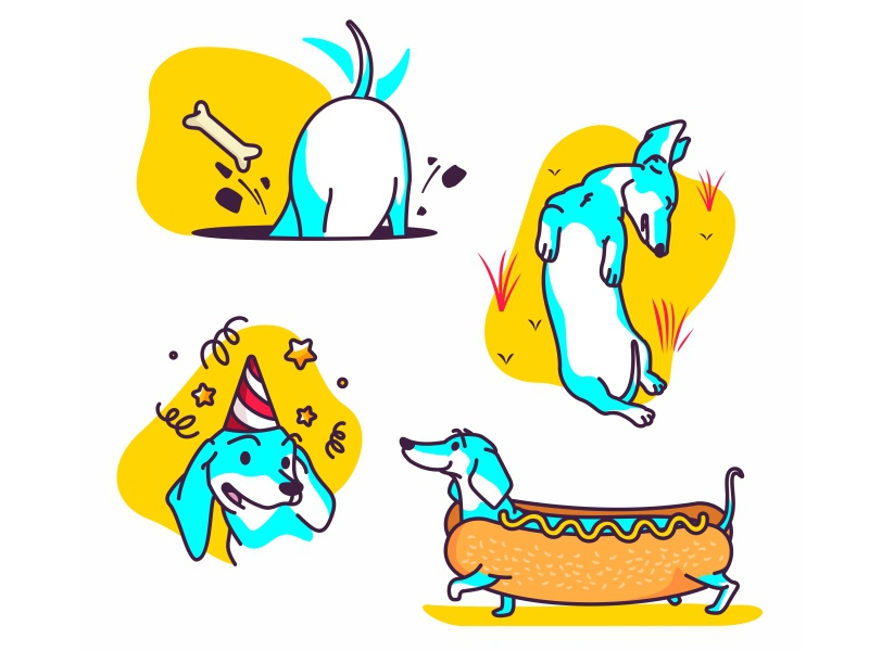 Dachshund stickers dachshund dog wiener dog yellow hotdog icon sticker app ios character cartoon pet