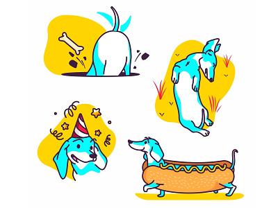 Dachshund stickers dachshund dog wiener dog yellow hotdog icon sticker app ios character cartoon pet