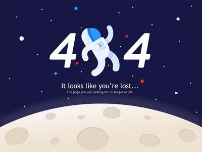 404 Space error 404 astronaut error lost space spaceship stars moon universe website planet ui ux