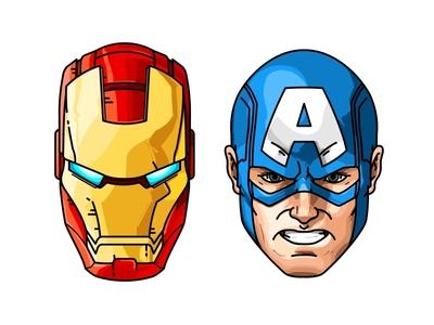 Ironman or Captain America? america captain america vector marvel head comic character ironman avengers
