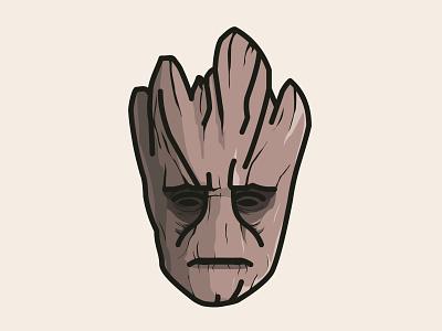 Groot wood tree line design cute illustration guardians of the galaxy groot gotg fanart disney art