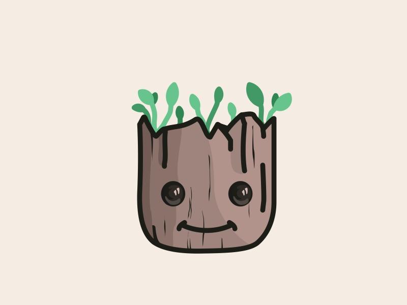 baby Groot art disney fanart gotg groot guardians of the galaxy illustration cute design line tree wood