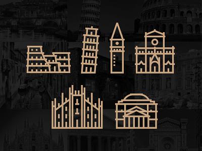 Italy Landmark architecture badge travel world italia colosseum rome landmark milan icons iconography