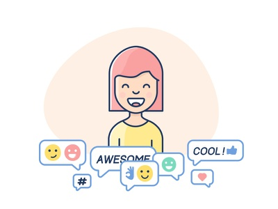 Captivating hearts and minds smile awesome cool community help mind girl cute heart audience illustration idea
