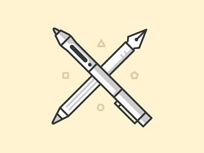 Drawing tools art brush icons illustration marker pen pencil tool vector liner pattern stationery