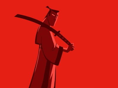 Samurai Jack japan vector sword character samurai retro red blood samurai jack illustration hero cartoon